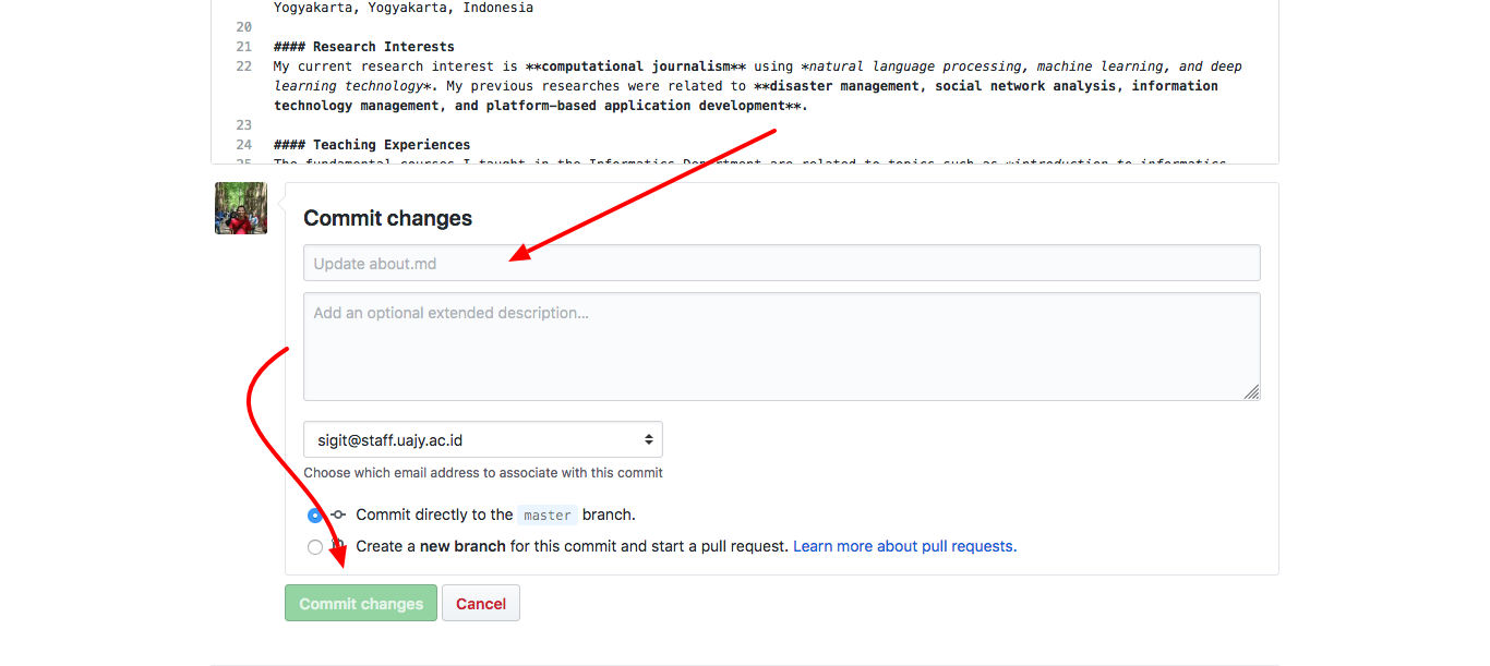 GitHub Pages Commit Changes
